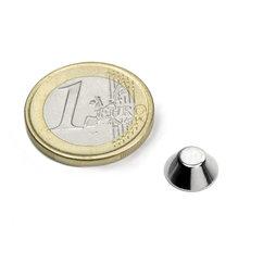 CN-10-05-04-N, Cone magnet Ø 10/5 mm, height 4 mm, neodymium, N45, nickel-plated