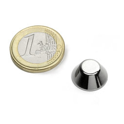CN-15-08-06-N, Cone magnet Ø 15/8 mm, height 6 mm, neodymium, N42, nickel-plated