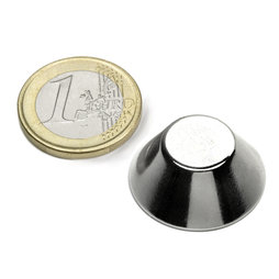 CN-25-13-10-N, Cone magnet Ø 25/13 mm, height 10 mm, neodymium, N38, nickel-plated