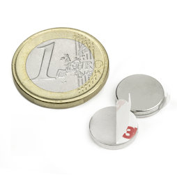 S-12-02-FOAM, Disc magnet (self-adhesive) Ø 12 mm, height 2 mm, neodymium, N35, nickel-plated