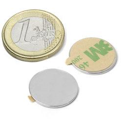 S-18-01-STIC, Disc magnet self-adhesive Ø 18 mm, height 1 mm, neodymium, N35, nickel-plated