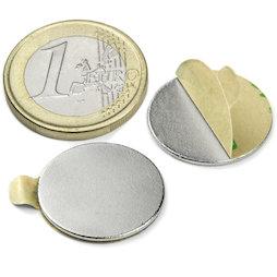 S-20-01-STIC, Disc magnet self-adhesive Ø 20 mm, height 1 mm, neodymium, N35, nickel-plated