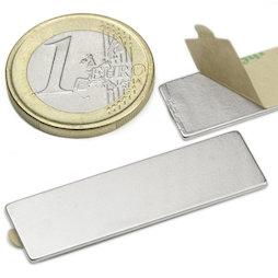 Q-40-12-01-STIC, Block magnet self-adhesive 40 x 12 x 1 mm, neodymium, N35, nickel-plated