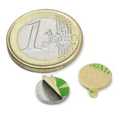 S-10-01-STIC, Disc magnet (self-adhesive) Ø 10 mm, height 1 mm, neodymium, N35, nickel-plated