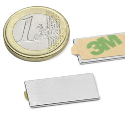 Q-25-12-01-STIC, Block magnet self-adhesive 25 x 12 x 1 mm, neodymium, N35, nickel-plated