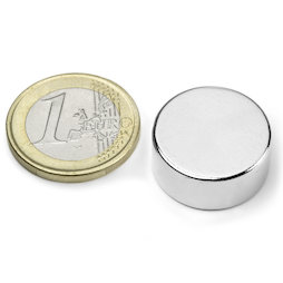 S-20-09-N, Disc magnet Ø 20 mm, height 9 mm, neodymium, N42, nickel-plated