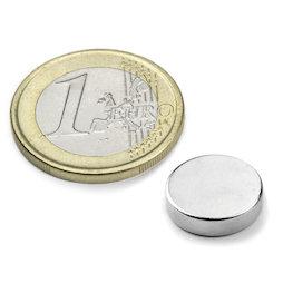 S-12-04-N, Disc magnet Ø 12 mm, height 4 mm, neodymium, N45, nickel-plated