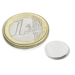 S-12-01-N, Disc magnet Ø 12 mm, height 1 mm, neodymium, N42, nickel-plated