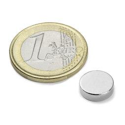 S-10-2.5-N, Disc magnet Ø 10 mm, height 2,5 mm, neodymium, N42, nickel-plated