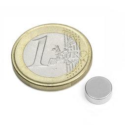 S-08-03-N, Disc magnet Ø 8 mm, height 3 mm, neodymium, N45, nickel-plated