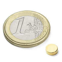 S-06-02-G, Disc magnet Ø 6 mm, height 2 mm, neodymium, N45, gold-plated