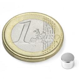S-05-04-N, Disc magnet Ø 5 mm, height 4 mm, neodymium, N45, nickel-plated