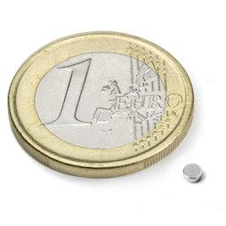 S-2.5-01-N52N, Disc magnet Ø 2,5 mm, height 1 mm, neodymium, N52, nickel-plated