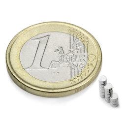 S-02-01-N, Disc magnet Ø 2 mm, height 1 mm, neodymium, N48, nickel-plated