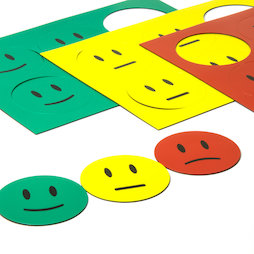 BA-016, Magnet symbols Smiley, for whiteboards & planning boards, 6 smileys per A5 sheet, set of 3: green, yellow, red