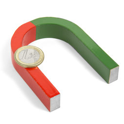 EDU-4, Horseshoe magnet medium, 80 x 60 mm, AlNiCo5, red-green coated