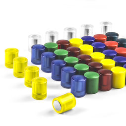 M-PC, Blackboard magnets cylindrical, neodymium magnets with plastic cap, Ø 14 mm, in different colours