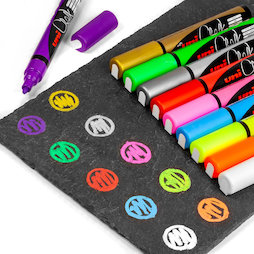 BA-021, Chalk Marker, set of 4, in different colours, for magnetic glass board and whiteboards