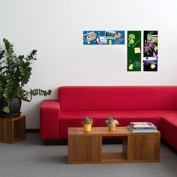 GMBB-2060, Magnetic glass board rectangular, 20 x 60 cm, in different colours