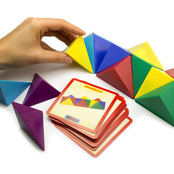 M-41, Tangram cube, made of 24 magnetic tetrahedrons, with 20 templates